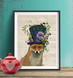 The Mad Hatter Fox Alice in wonderland Print Fox by LoopyLolly