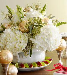 Christmas or A Shining Idea Hydrangea & Eucalyptus Arrangement