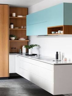 Not the kitchen or look but the way the counter runs into the other one I like the integration