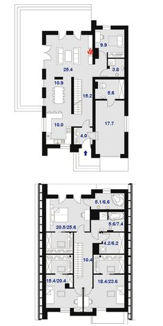 DOM.PL™ - Projekt domu DPS Boston CE - DOM DPS1-02 - gotowy koszt budowy Big Houses, Planer, Boston, Floor Plans, House Design, Contemporary, How To Plan, For Sale, Two Story Houses