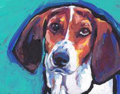 Treeing Walker Coonhound portrait PRINT of modern colorful pop dog art painting 8.5x11