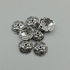 20 pcs .925 Bali Sterling Silver Round Flower Caps Bead 5mm//Findings//Bright