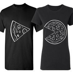 The Missing Piece Pizza Slice Matching Couple Shirts His and Her... (4.515 KWD) ❤ liked on Polyvore featuring tops, t-shirts, shirt top, tee-shirt and t shirts