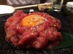 raw beef and raw egg. can eat only Japan. quality is much fine :)