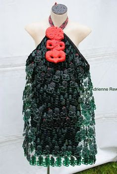 I photographed this wonderfully whimsical dress - made of plastic tiki - at last year's Ngai Tahu Huia-a-Tau, which was held at Puketera. Whimsical Dress, Maori Art, Contemporary Fashion, Juices, Kiwi, Dress Making, Passion, Lifestyle, Craft