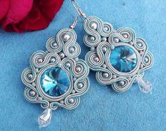 CLEARANCE SALE Grey Soutache Earrings Blue por HeriniaJewelry