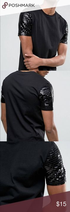 Mens sequin cap sleeve longline tee size xxxl Work once and very cool tee. I bought two thinking I would wear it more and I haven't but selling one of them. Very sick shirt and really makes a statement. Size xxxl. Retailed at $40. ASOS Shirts Tees - Short Sleeve