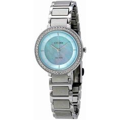 Citizen Silhouette Crystal Blue Mother Of Pearl Dial Ladies Watch ($138) ❤ liked on Polyvore featuring jewelry, watches, analog watches, dress watches, eco drive watches, crystal crown and citizen watches