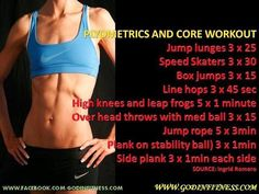 Plyo Core Workout shared-workouts-and-recipes Plyo Workouts, Circuit Training Workouts, Plyometric Workout, Plyometrics, Workout Humor, Workout Quotes, Workout Motivation, Fitness Tips, Health Fitness