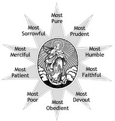 The Chaplet of the Ten Virtues of the Blessed Virgin Mary has been passed on by tradition of the Marian Order and is contained in their Rule. Description from battlebeads.com. I searched for this on bing.com/images