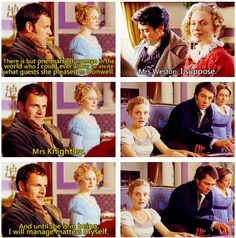 "Emma: ""And until she is in being, I will manage matters myself."" Damn, Mr. Knightley, that is some sass. (gif)"
