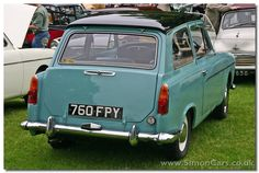 Austin MkII Countryman Top-hinged rear window and drop down bootlid created an early hatchback car. Classic Cars British, British Car, Garage Workshop Plans, Ford Zephyr, Austin Cars, Old Lorries, Hatchback Cars, Classic Motors, Car Advertising