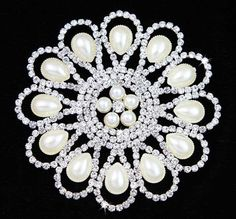 Rhinestone Diamonte Silver Bridal Wedding Sew On Motif Crystal Pearl Applique   #Unbranded