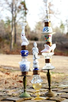 Anthro inspired candlesticks for $14 instead of the 398 that anthro charges  from http.fivedaysfiveways.com