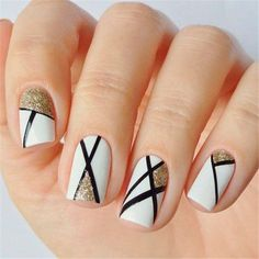 Geometric Nail Art With Gold Glitter Accents ❤️Square nails are very pretty and nice. Try these trendy variants, if you want to change your image a bit. These designs have been collected for you. ❤️ See more: naildesignsjourna. Cute Nail Art Designs, Square Nail Designs, Elegant Nail Designs, Short Nail Designs, Stylish Nails, Trendy Nails, Cute Nails, Design Ongles Courts, Geometric Nail Art
