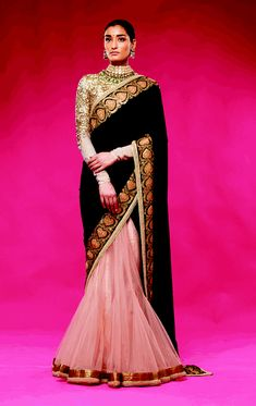 Check out this vast collection of the latest designer saree trends. From Abu Jani to Anita Dongre and Manish Malhotra to Sabyasachi, this page has all kinds of designer saree images for weddings & parties. Sabyasachi Sarees, Indian Sarees, Lehenga, Anarkali Dress, Indian Look, Indian Ethnic Wear, India Fashion, Asian Fashion, Indian Dresses