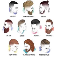 Men's hair cuts and beard  chart. Man bun. Mustache. Beard. Combover. Under cut. Side part. Hard part. Fade. Las Vegas