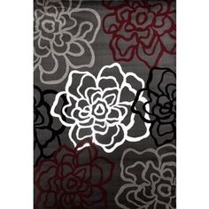 Shop for Contemporary Modern Floral Flowers Red and Grey Polypropylene Area Rug (7'10x10'2). Get free shipping at Overstock.com - Your Online Home Decor Outlet Store! Get 5% in rewards with Club O! - 20861671