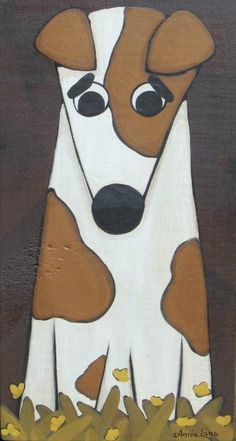 """"""" Jack """" Whimsical Jack Russell Dog Painting by Annie Lane  www.yessy.com/annielane"""