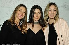 We are family: Bella Hadid was supported by her older half-sisters Marielle (L) and Alana Hadid (R) at the launch of Joe's Jeans new ads on Thursday in West Hollywood Alana Hadid, Bella Hadid, The Joe, Joes Jeans, Plastic Surgery, Male Models, Style Icons, Catwalk, Sisters