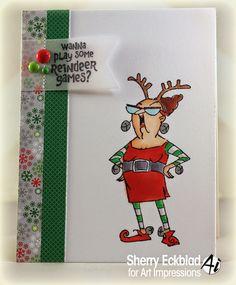 Art Impressions Reindeer Games SKU4351 Ai Christmas. Handmade humorous card.