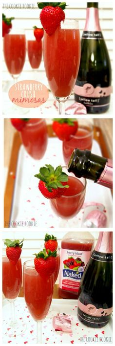 Strawberry Crush Mimosas | This looks perfect for your next party. #youresopretty