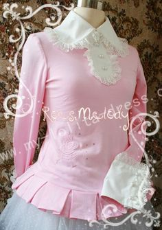 90eb285a95775b Swan fairy tail sweet white lolita blouse with beautiful lace trim and  ruffles, long sleeves, from rose melody.
