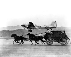 Contrasting modes of transportation: a DC-3 racing with a stagecoach, 1937. The photo was used in an American Airlines ad in the Saturday Evening Post, 1949.