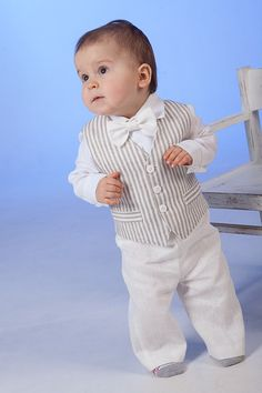 Boy linen suit ring bearer outfit baby boy natural di Graccia
