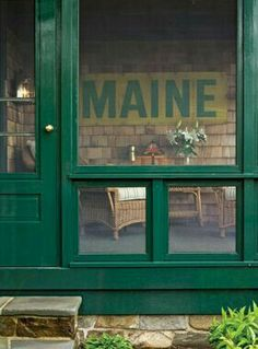Screened in porch with lifting Windows! Ahhh the green. I don't see this much .it used to be popular for porches. Maine Cottage, Lakeside Cottage, Maine House, Cottage Patio, Cottage Style, Lake Cabins, Cabins And Cottages, Beach Cottages, Mountain Cabins