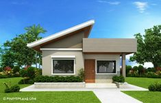 This Two Bedroom Small House Design has a total floor area of 61 square meters that can be built in a 134 square meters lot area. if you have a lot width of 10 meters and meters depth, this de… Two Bedroom House Design, House Roof Design, Simple House Design, Modern Bungalow House, Bungalow House Plans, Small House Floor Plans, Modern House Plans, Best Small House Designs, House Construction Plan