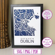 Dublin Map Paper Cut Digital Download and Decal by JumbleinkDesign on Etsy Dublin Map, Paper Cut Design, City Maps, Box Frames, Paper Cutting, Card Stock, Wedding Gifts, Decal, Handmade Items