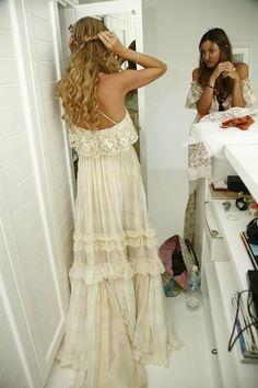Boho Chic Hippie Wedding Gown Bohemian by TheDarkQueenBoutique, $599.99