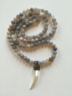 Long Matte Banded Gray Agate Beaded Necklace with Pave Crystal Mother of Pearl Horn Pendant