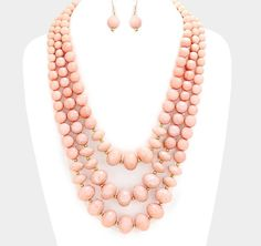 3-Layer PINK Faceted Large Bead Bib Necklace Earrings Set #Unbranded