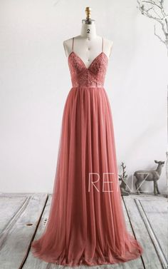 Bridesmaid Dress Canyon Rose Wedding Dress Boho Lace Applique Prom Dress Long V Neck A-line Formal Dress Puffy Tulle Wedding Gown Pretty Prom Dresses, Hoco Dresses, Beautiful Dresses, Casual Dresses, Formal Dresses, Prom Dresses With Straps, Colored Wedding Dress, Tulle Wedding Gown, Cheap Wedding Dress