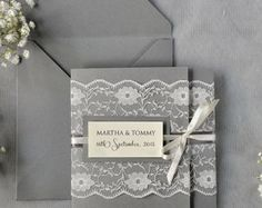 Ivory Lace  Wedding Invitation, Grey Wedding Invitation, Pocket Fold Wedding Invitations , Vintage Wedding invitation