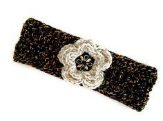 Crochet headband in Brunette and Gold.  Comfy and warm headband with crochet flower applique handmade on Martha's Vineyard by BeachPlumCottage