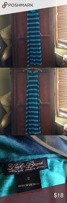 Lucky brand blue maxi dress Blue and turquoise striped maxi dress by Lucky  Brand. Excellent condition, size small. Lucky Brand Dresses Maxi