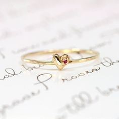 Ruby Heart Ring 14k Gold Stacking Ring by ScarlettJewelry on Etsy, $218.00