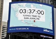 Times Square Digital Billboard Calculates Travel Time to Far Off Destinations. Read more on ScreenMedia Daily