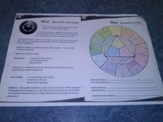 Je moest een kleurencirkel maken met drie kleuren: Rood, geel en blauw. En daarmee verschillende kleuren maken