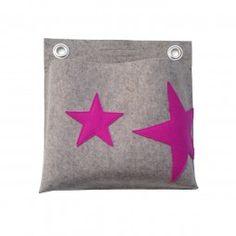 Nicht nur für Stars und Sternchen. Utensilo mit pinkfarbenen Sternen für die Wand, einfach mit 2 Nägeln zu befestigen.