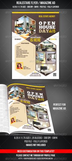 Real Estate - Open House Flyer / Magazine AD Realestate – Open House Flyer / Magazine AD Real Estate – Open House Flyer / Magazine AD Features and technical specs: Real Estate Advertising, Real Estate Flyers, Real Estate Agency, Real Estate Marketing, Advertising Agency, Buying And Selling Houses, Flyer Poster, Page Layout Design, Banner