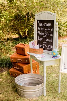 Love this welcome table at Melissa & Ryan's wedding at Airlie Gardens with these vintage suitcases and adorable fan programs!  Vintage Travel Wedding in Wilmington, North Carolina by Knot Too Shabby Events #knottooshabbyevents #vintagewedding #travelwedding