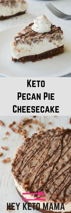 This Keto Pecan Pie Cheesecake is PERFECT for the Holiday Season. It's so delectable your non-low carb loved ones will never know the keto difference! | heyketomama.com via @heyketomama