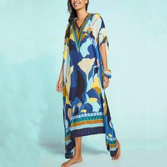 Bohemian V Neck Halflong Sleeve Printed Colour Loose Beach Pullover – vacation outfit mexico,summer vacation dressesr,beach dresses vacation,weekend dress Vacation Dresses, Beach Dresses, Dress Beach, Women's Dresses, Bikini Cover Up, Swimsuit Cover, Bikini Swimsuit, Beach Tunic, Beachwear Fashion