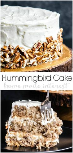 Hummingbird Cake   This classic southern Hummingbird Cake recipe has everything you need for the perfect cake. Bananas, pineapples, pecans and an amazing cream cheese frosting to bring it all together. Hummingbird cake makes an excellent Easter dessert recipe but don't stop there. Make Hummingbird Cake for all of your special occasions! It's an easy cake recipe that everyone will love. #cake #easterdessert #easter #creamcheesefrosting #pecans #bananas #dessert