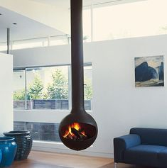 modern freestanding gas fireplace - Google Search