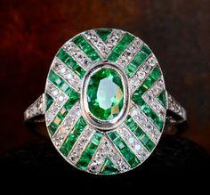 1920-30s Art Deco Emerald and Diamond Cluster Ring, Platinum Filigree, $5850